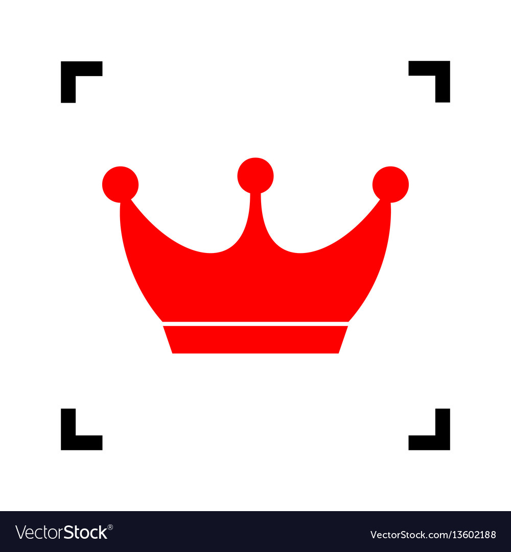 King crown sign red icon inside black.