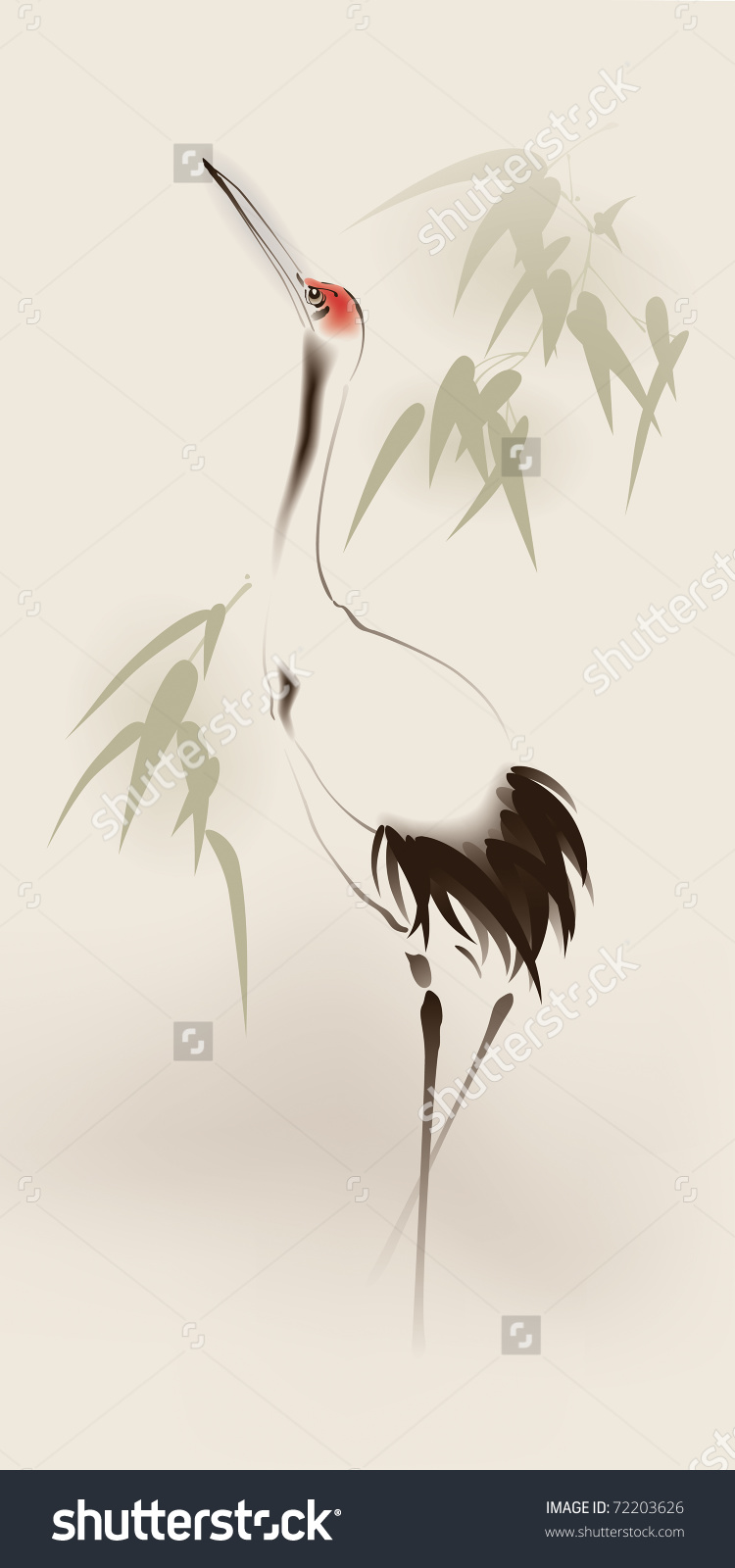 Oriental Style Painting Redcrowned Crane Stock Vector 72203626.