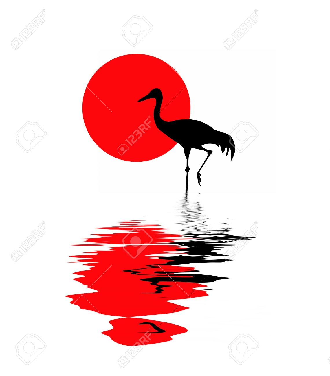 Vector Silhouette Of The Crane On Solar Background Royalty Free.