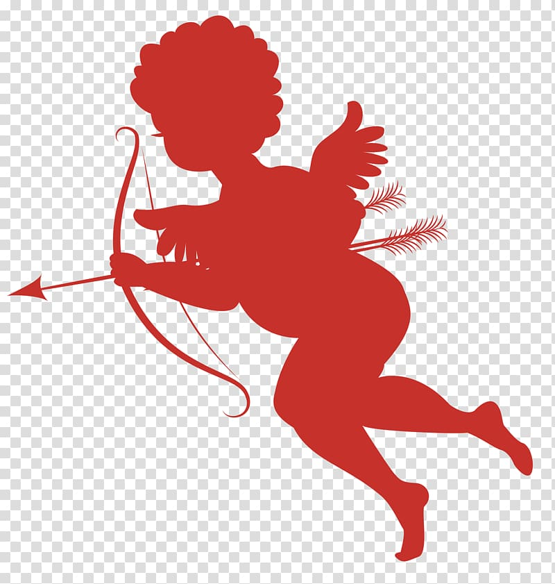 Cupid , Cupid , Red Cupid Silhouettes transparent background.