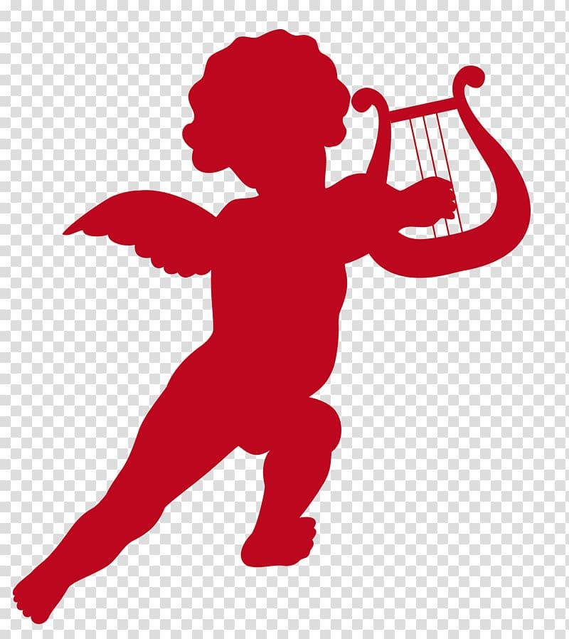 Red cherub holding harp illustration, Cupid Valentine\\\'s Day.