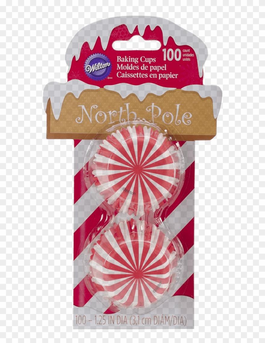 Baking Cups Mini Cupcakes North Pole Red & White Stripe.
