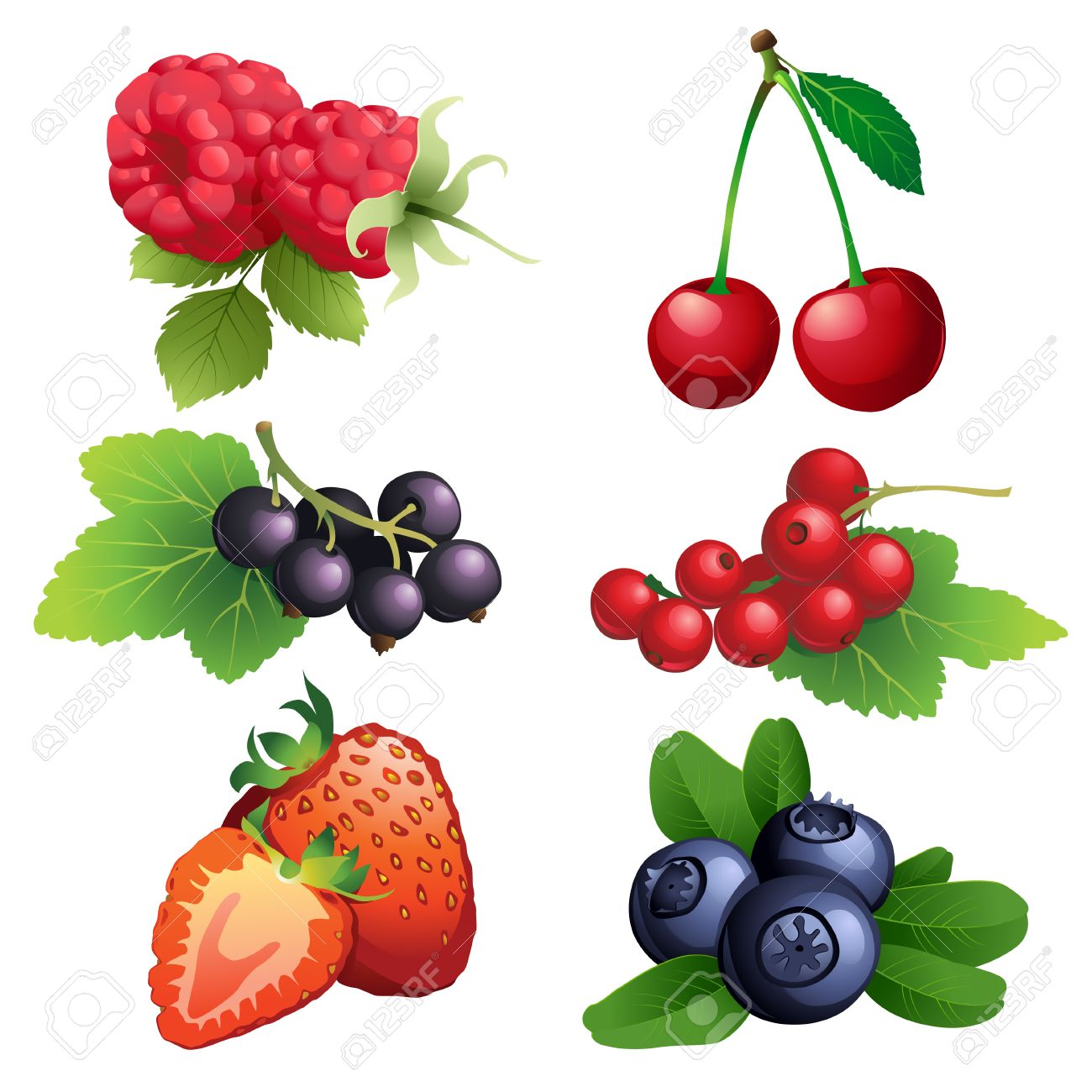 Vector Illustration Icon Of Ripe Strawberry, Raspberry, Cherry.