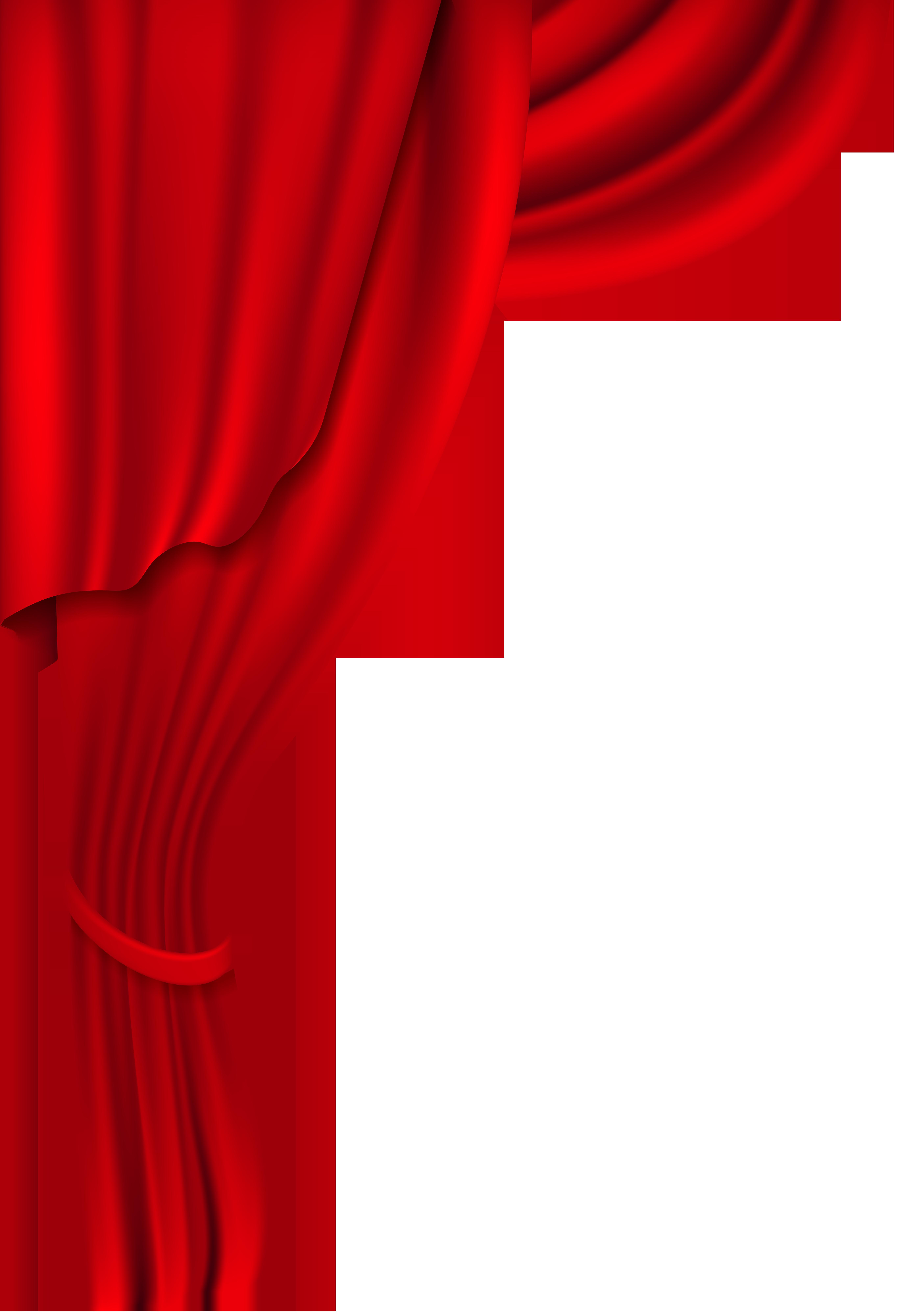 Red Curtain Transparent Clip Art Image.