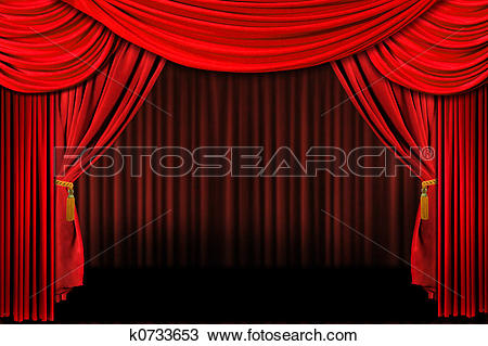 Drawing of Red On Stage Theater Drapes k0733653.