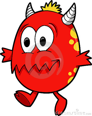 Red Cute Monsters Clipart.