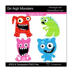 cute monster clip art digital clipart red blue green.