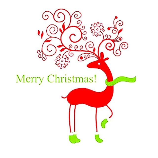 Merry Christmas Xmas Red Deer Removable Vinyl Wall Sticker Window.