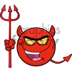 Royalty Free RF Clipart Illustration Red Devil Cartoon Smiley Face  Character With Evil Expressions Holding A Trident Vector Illustration  Isolated On.