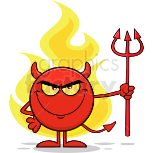 Red Devil Cartoon Emoji Character Holding A Pitchfork Over Flames Vector  Illustration Isolated On White Background clipart. Royalty.