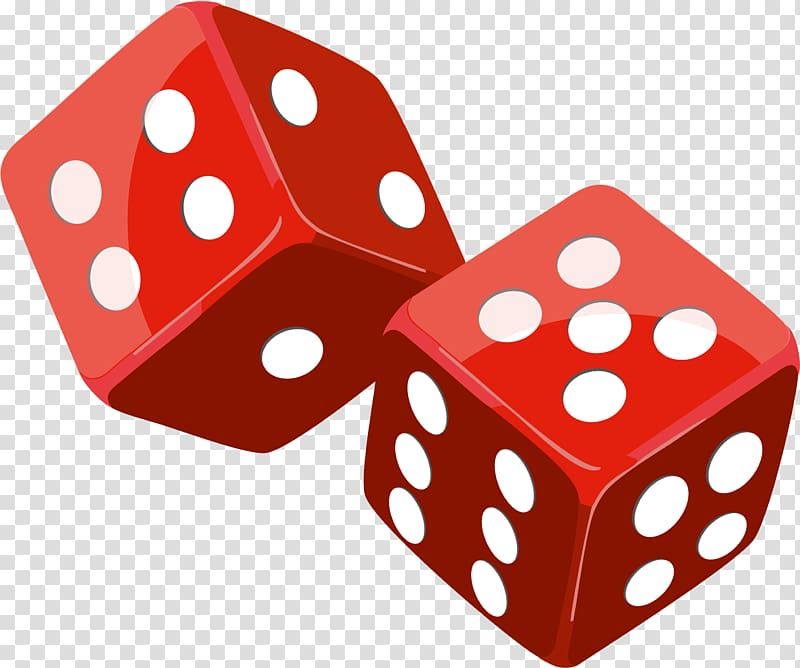 Dice Game , Red dice transparent background PNG clipart.