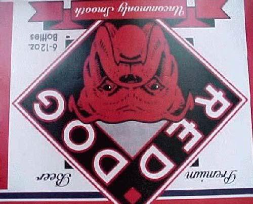 red dog beer logo upside down.