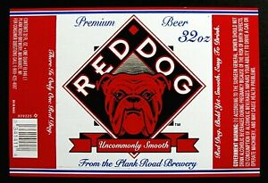 Details about Plank Road Brewery RED DOG beer label WI 32oz #809225.