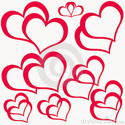 Red Double Hearts Stock Photography.