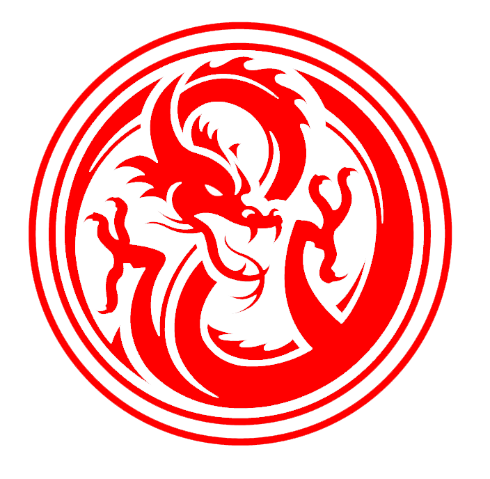 Red Dragon Logo inside a circle..