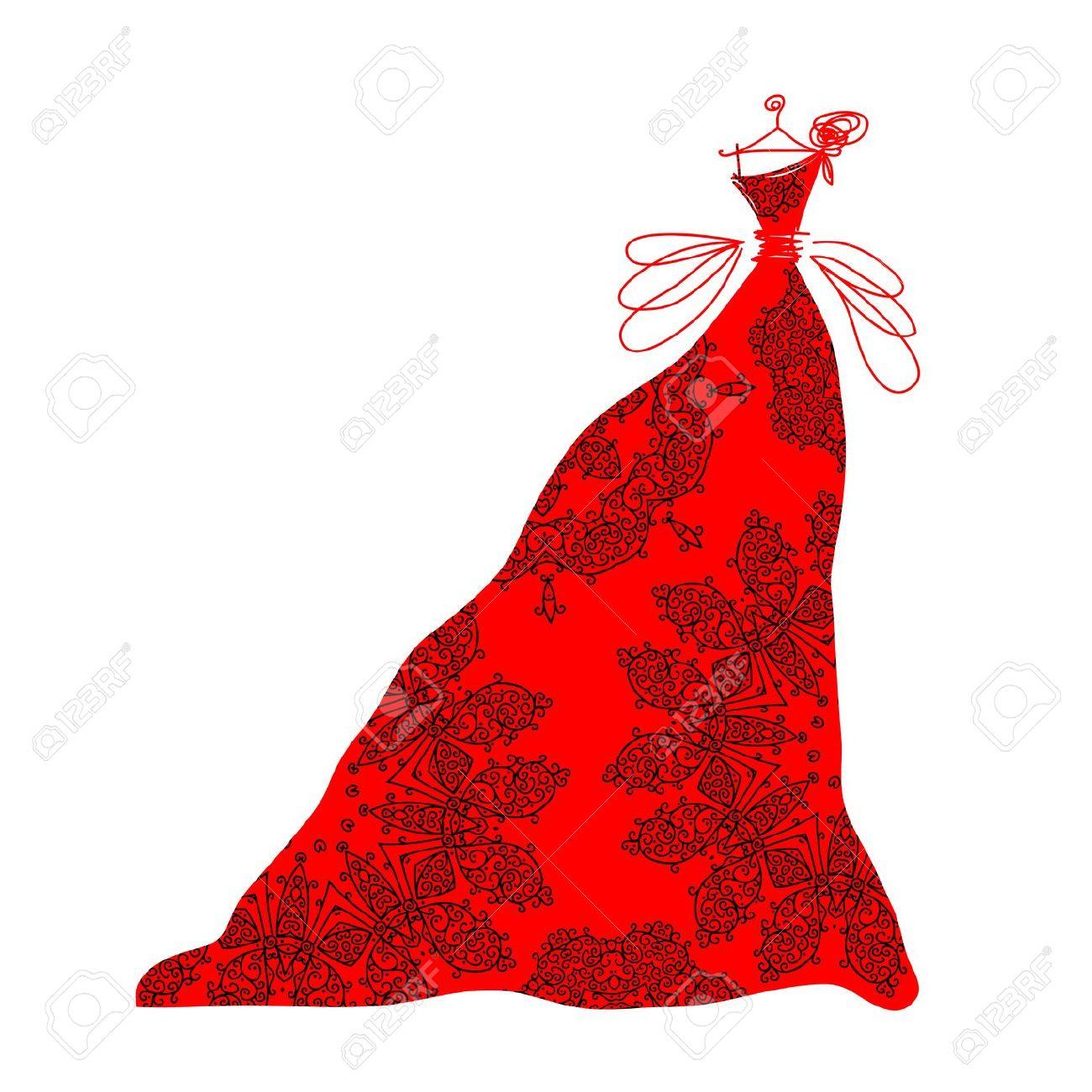 Red Dinner Dress Clipart.