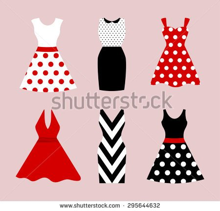 Red Dress Clipart Short Sleeves.