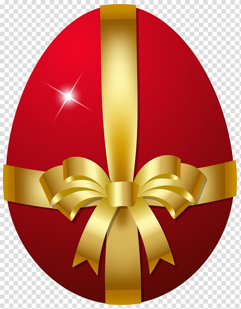 Red and gold egg with bow illustration, Easter Bunny Red.