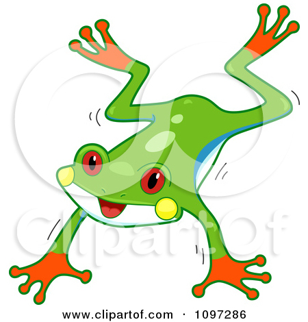 Clipart Two Cute Red Eyed Tree Frogs Leaping.
