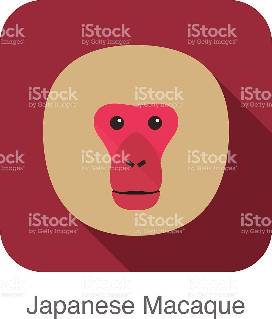 Japanese Snow Macaque Face Flat Icon Design stock vector art.
