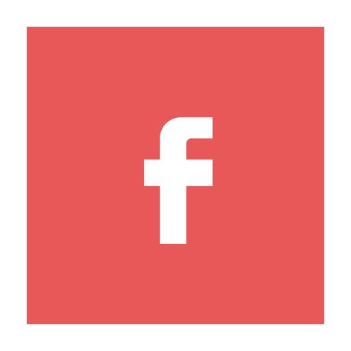 Circular, facebook, fb, modern, red icon.
