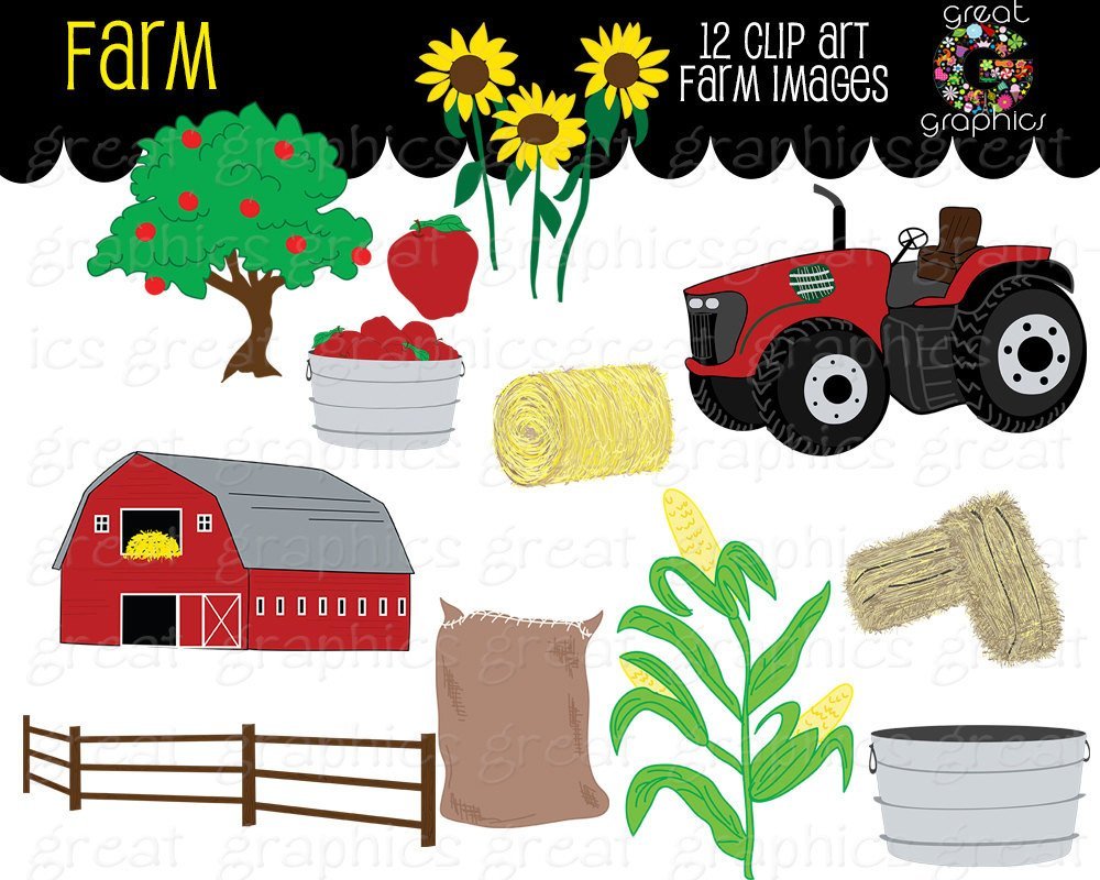 Farm Clipart Fall Festival Apple Digital Farm Clip Art Red Tractor.