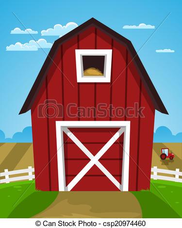 Clip Art Vector of Red Farm Barn.