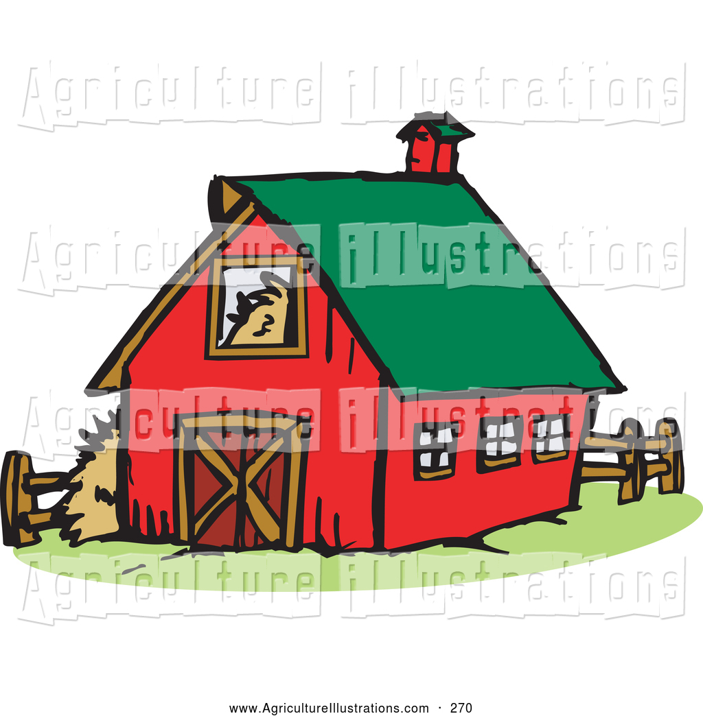 Agriculture Clipart of a Old Red Farm Barn with a Green Roof by.