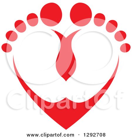Clipart of a Red Baby Toes and Feet Forming a Heart.
