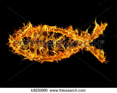 Stock Illustrations of Christian Fish on Fire k9235890.