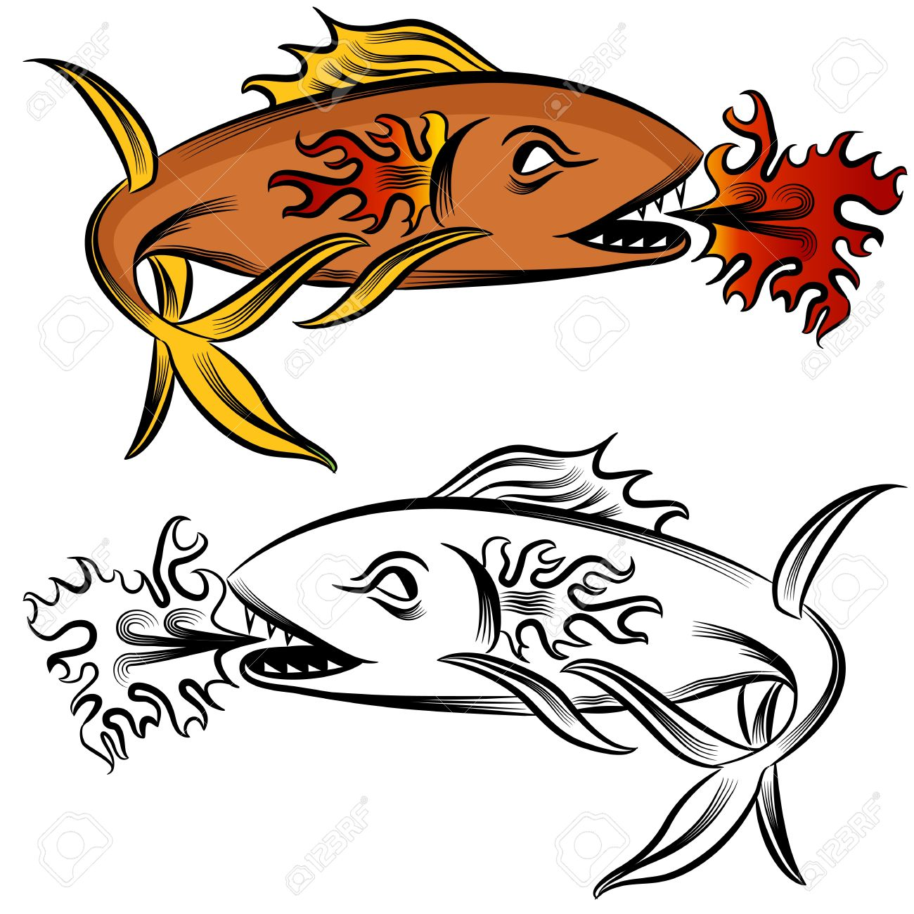 An Image Of A Fire Fish Drawing. Royalty Free Cliparts, Vectors.