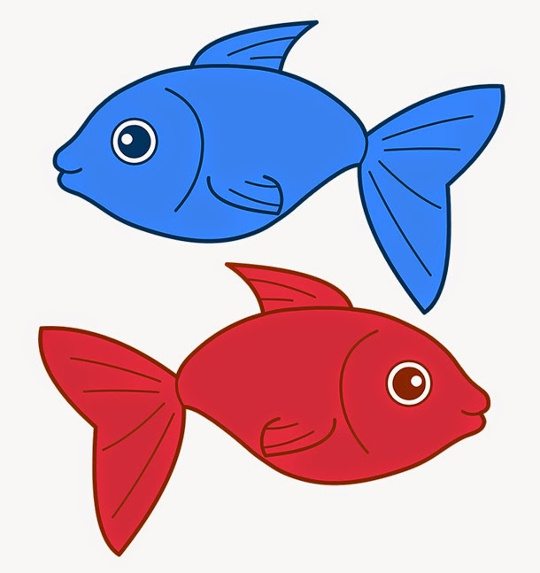 Red fish blue fish clipart.
