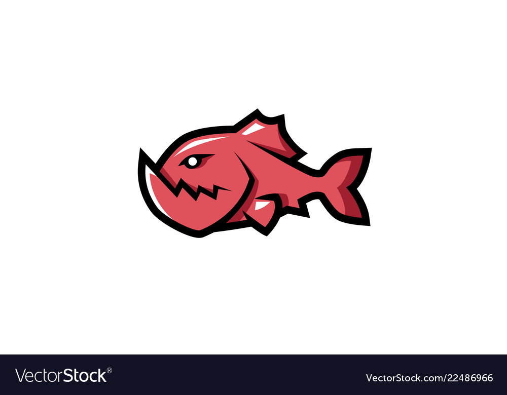 Creative red piranha fish logo.