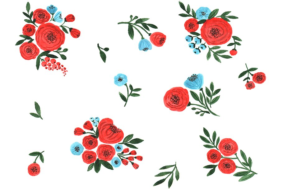 Watercolor Red Flowers Clipart.