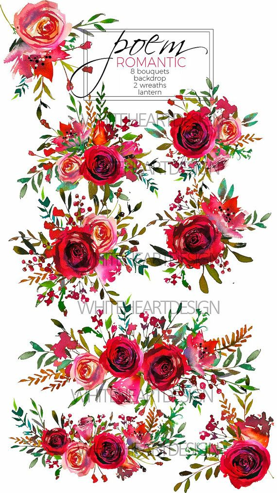 Watercolor Floral Clipart Red Purple Pink Burgundy Roses.