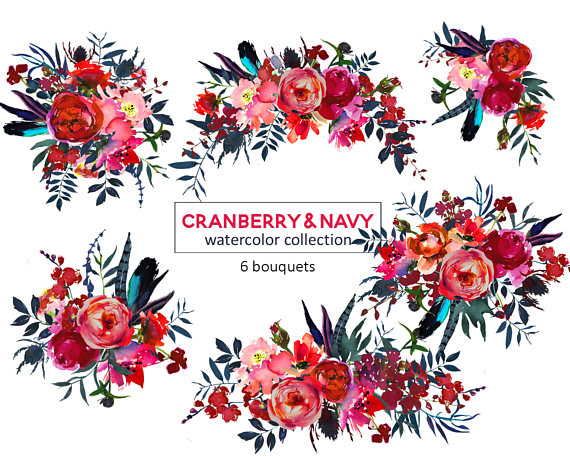 Red Navy Watercolor Flowers Boho Chic Clipart Tribal Floral.