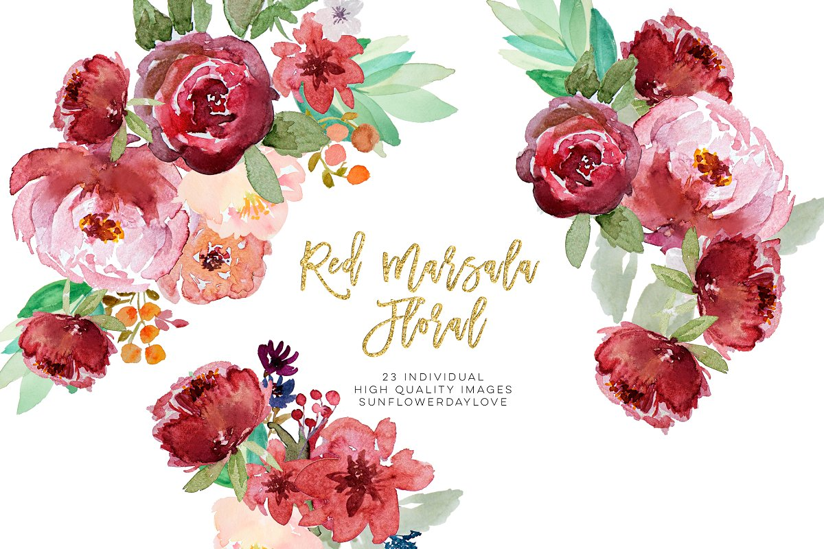 Red floral watercolor clipart.