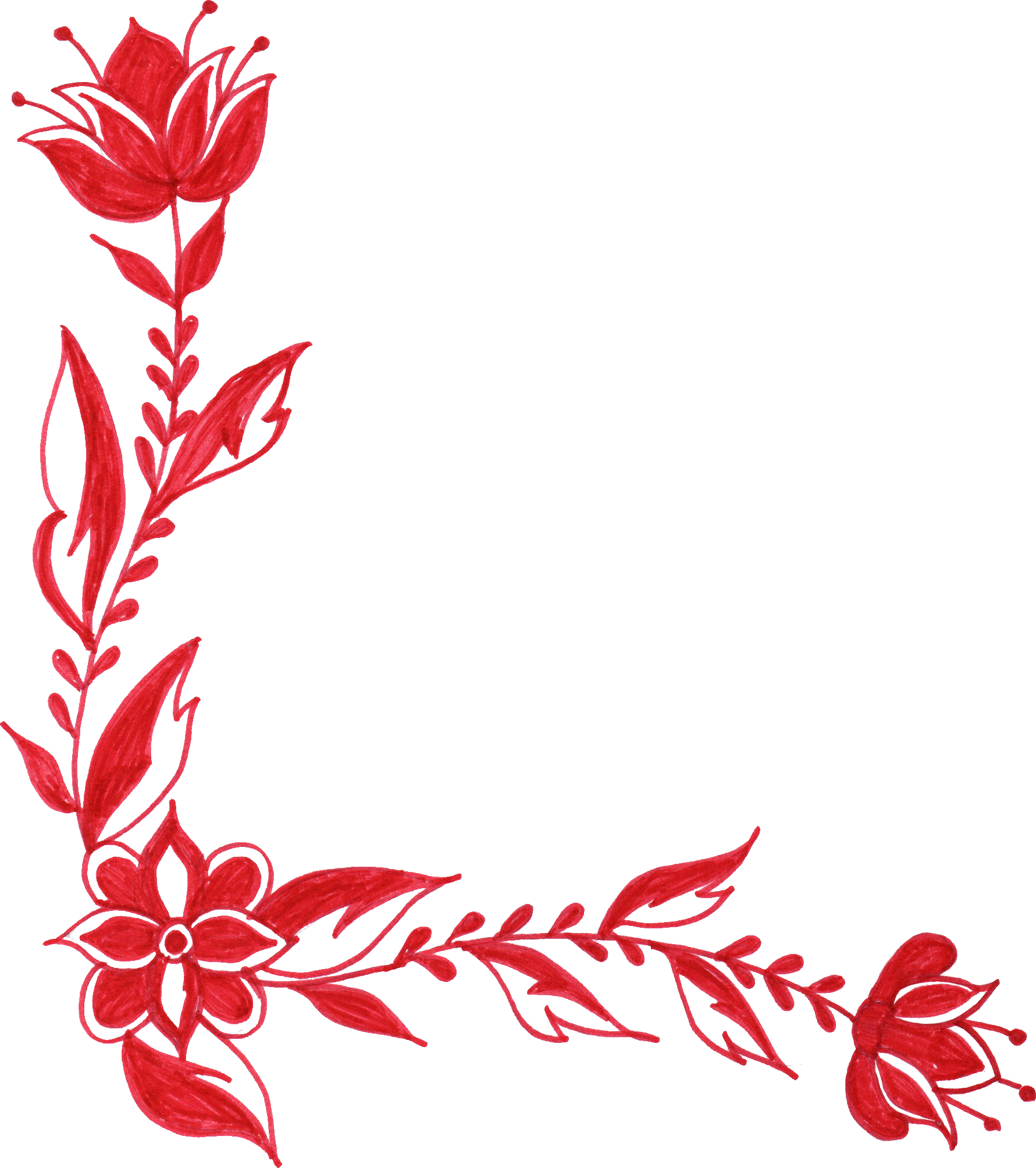 6 Red Flower Corner Ornament (PNG Transparent).