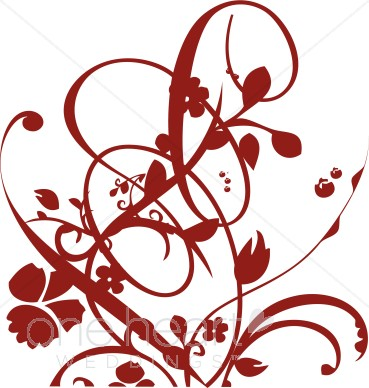 Red Vine and Floral Flourish Clipart.
