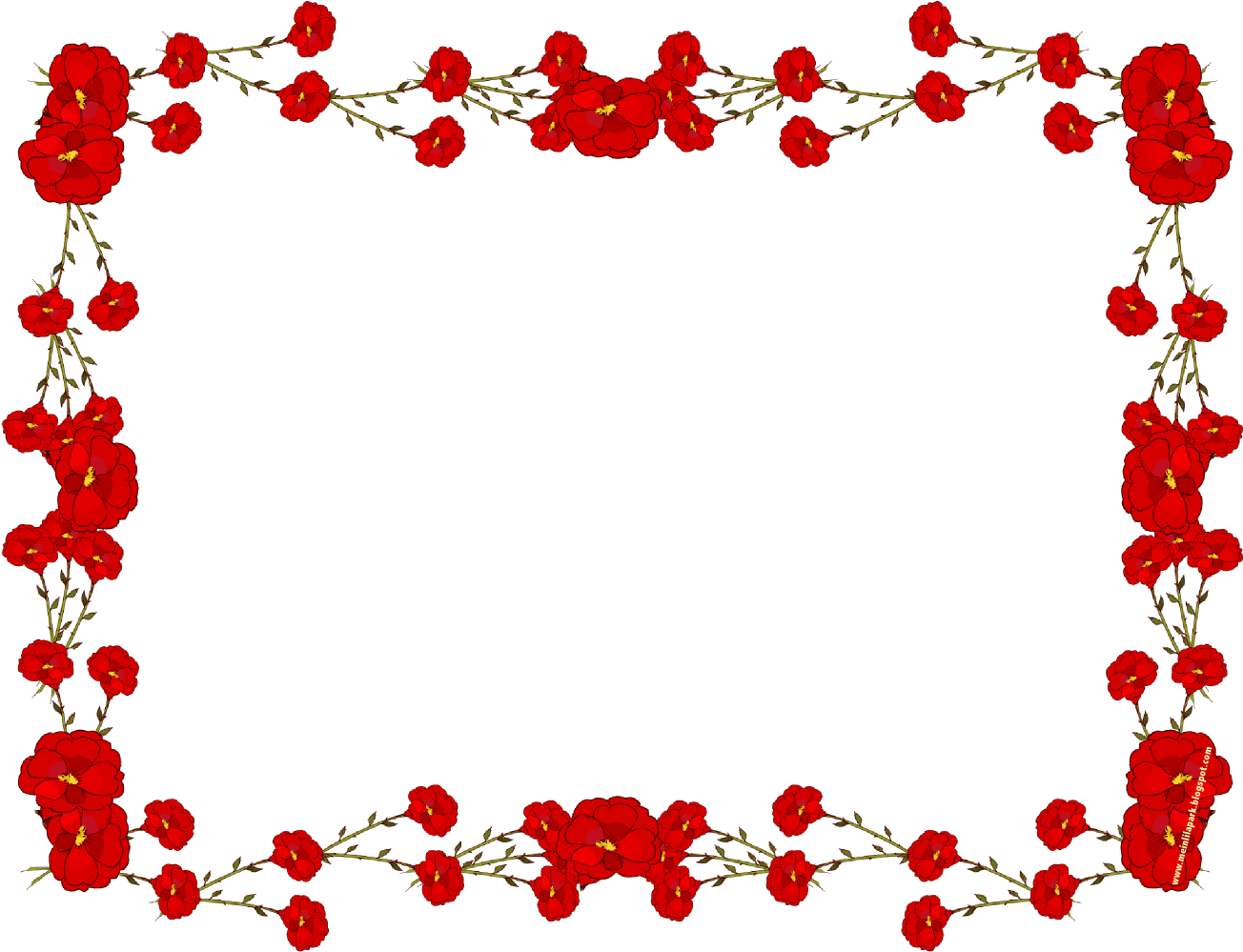 HD Red Roses Border Png.