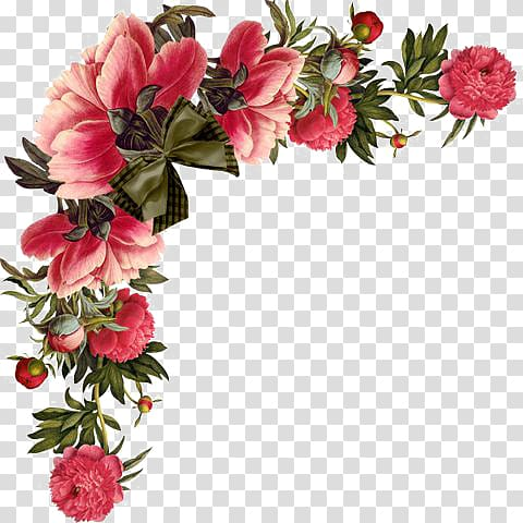 Red flowers border transparent background PNG clipart.