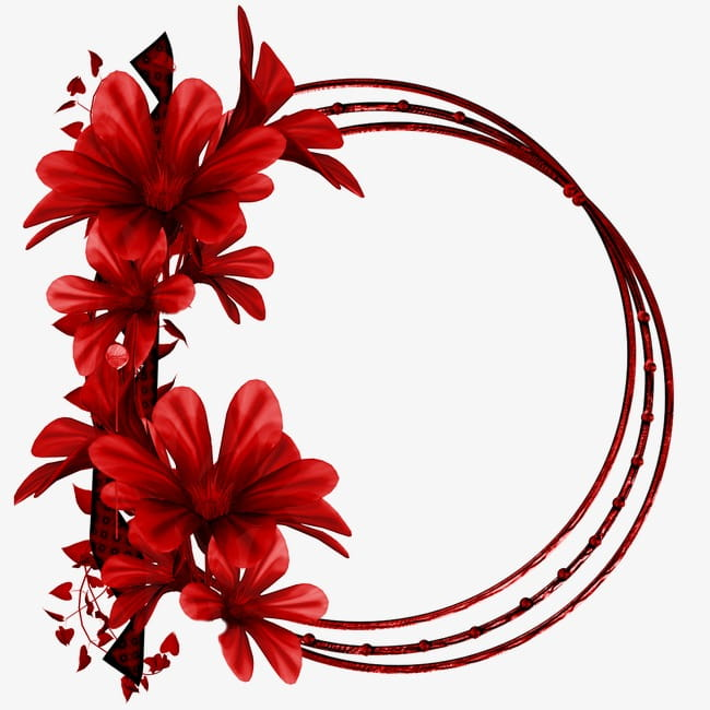 Red flower ring PNG clipart.