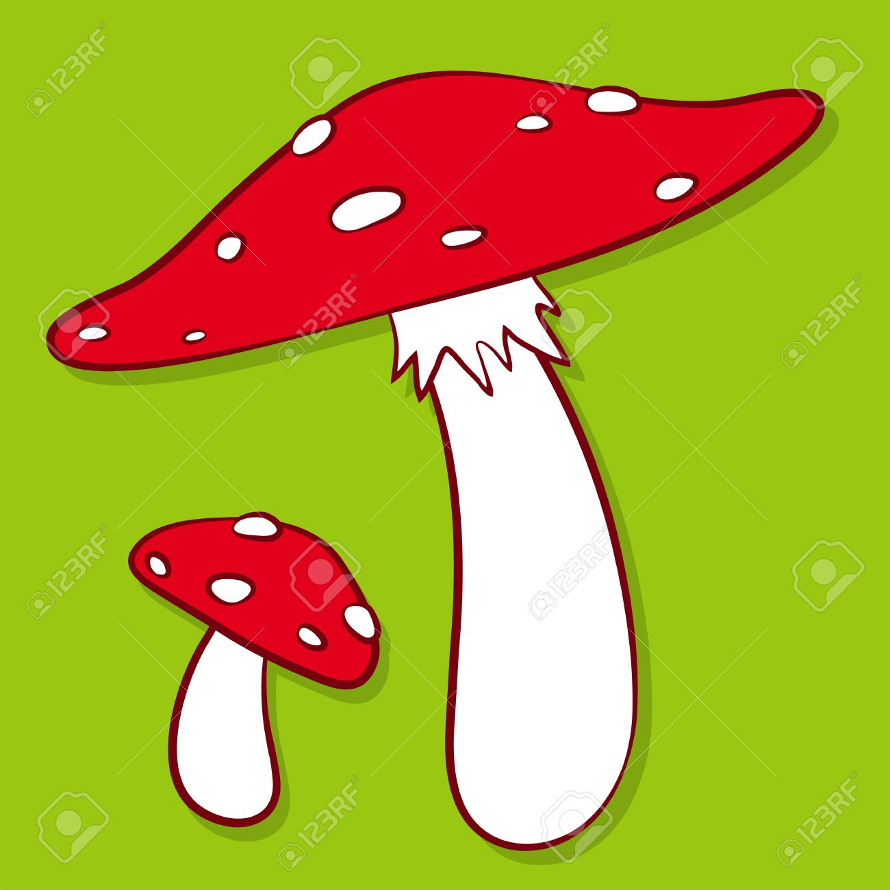 Cartoon Illustration Of Colourful Red Spotted Fly Agaric Mushrooms.