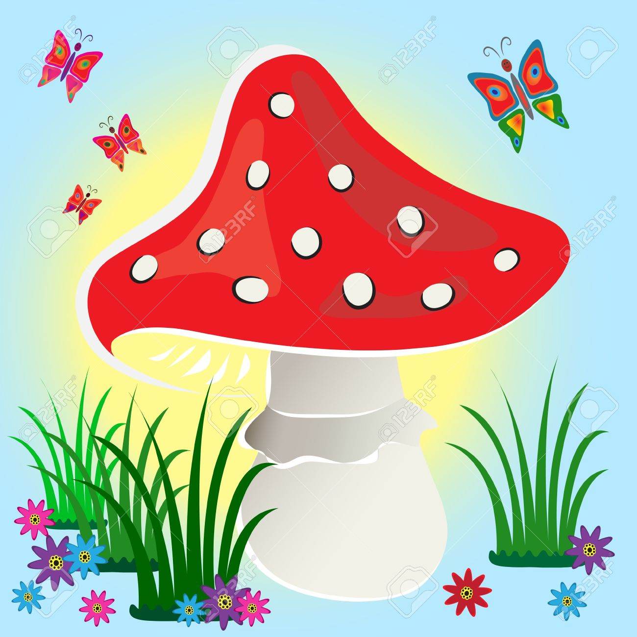 Red Fly Agaric Mushroom On Blue Background With Flowers And.