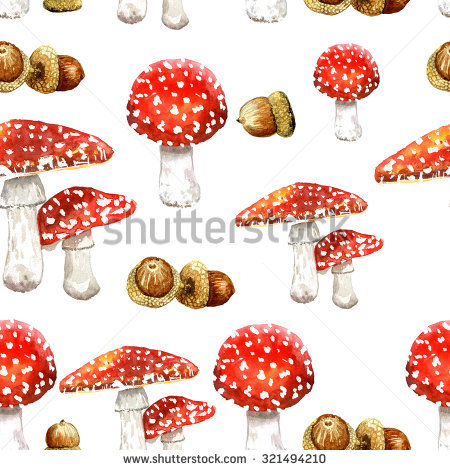 Seamless Toadstool Pattern.Mushroom Seamless Pattern With Red Fly.