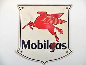 Details about Vintage Mobilgas Sign Mobil Oil Co Porcelain Gas Pump Pegasus  Winged Horse.