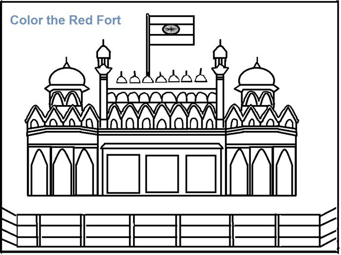 Red Fort coloring printable page for kids.