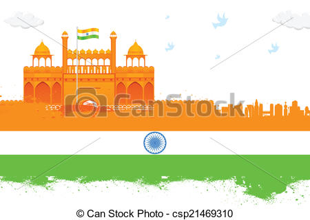 Vector Clip Art of India background with Red Fort.
