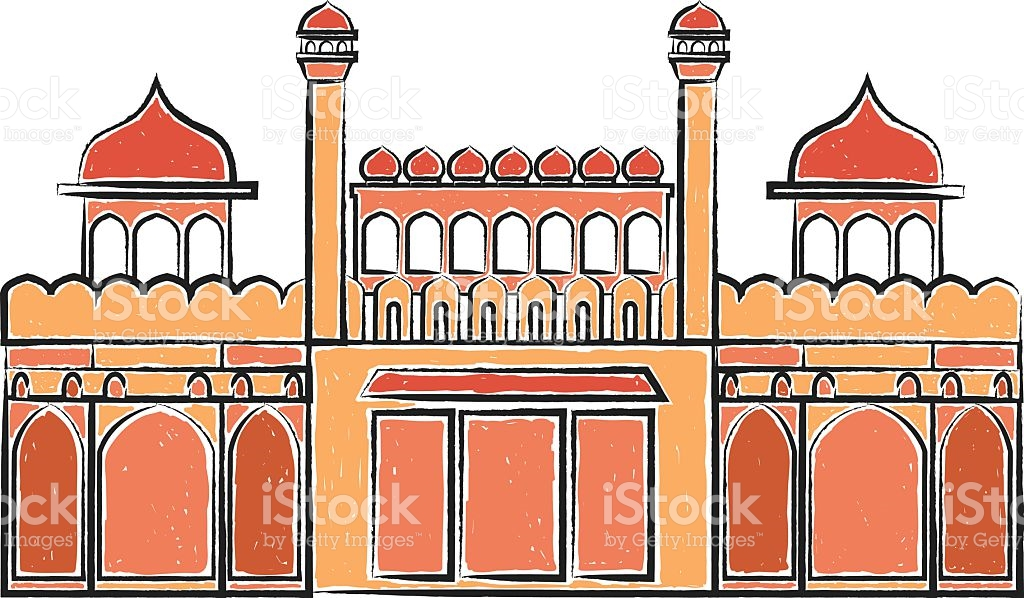 Red Fort Lal Quila Vector Illustration stock vector art 509854600.