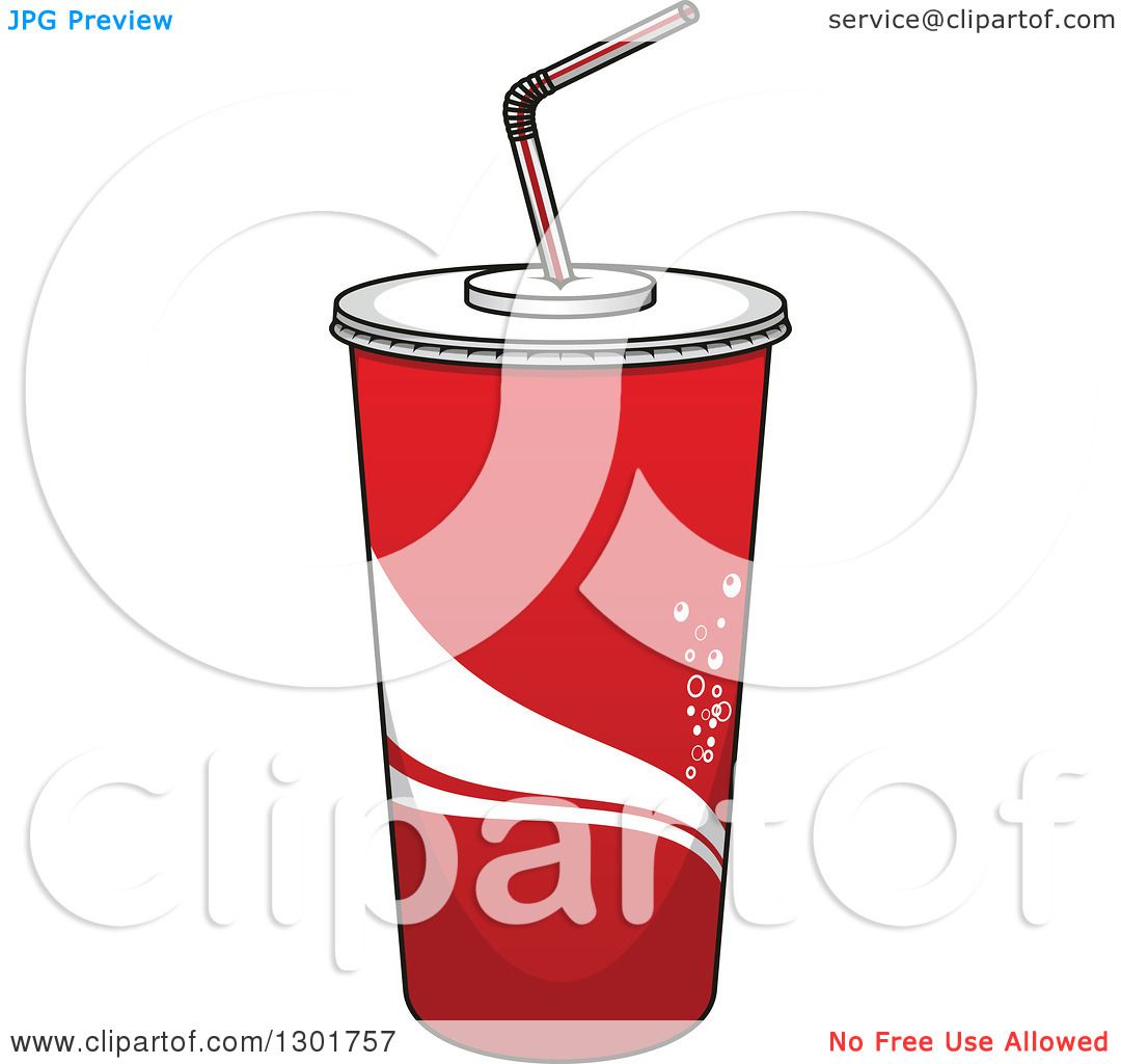 Clipart of a Cartoon Red Fountain Soda Cup.